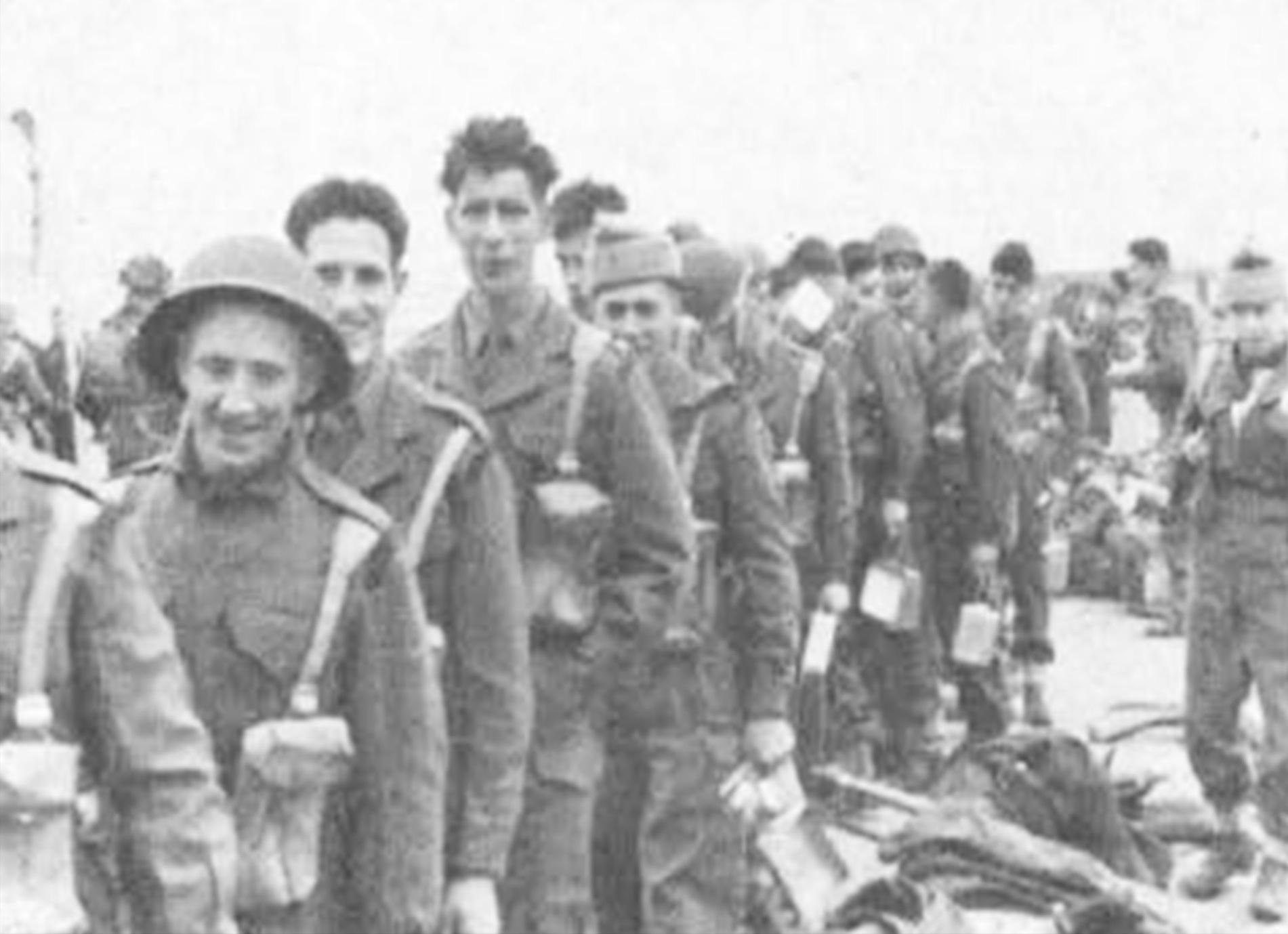 (From left) Gordon Highlanders Morrison, Warrender, Bolt, Hamilton and Oliphant whilst filming for 1958 film Dunkirk. Copyright of The Gordon Highlanders Museum.