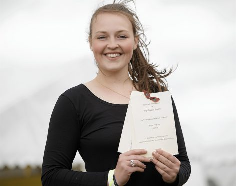 Amy Ingram with her Gregor Award at the Royal Highland Show 2017