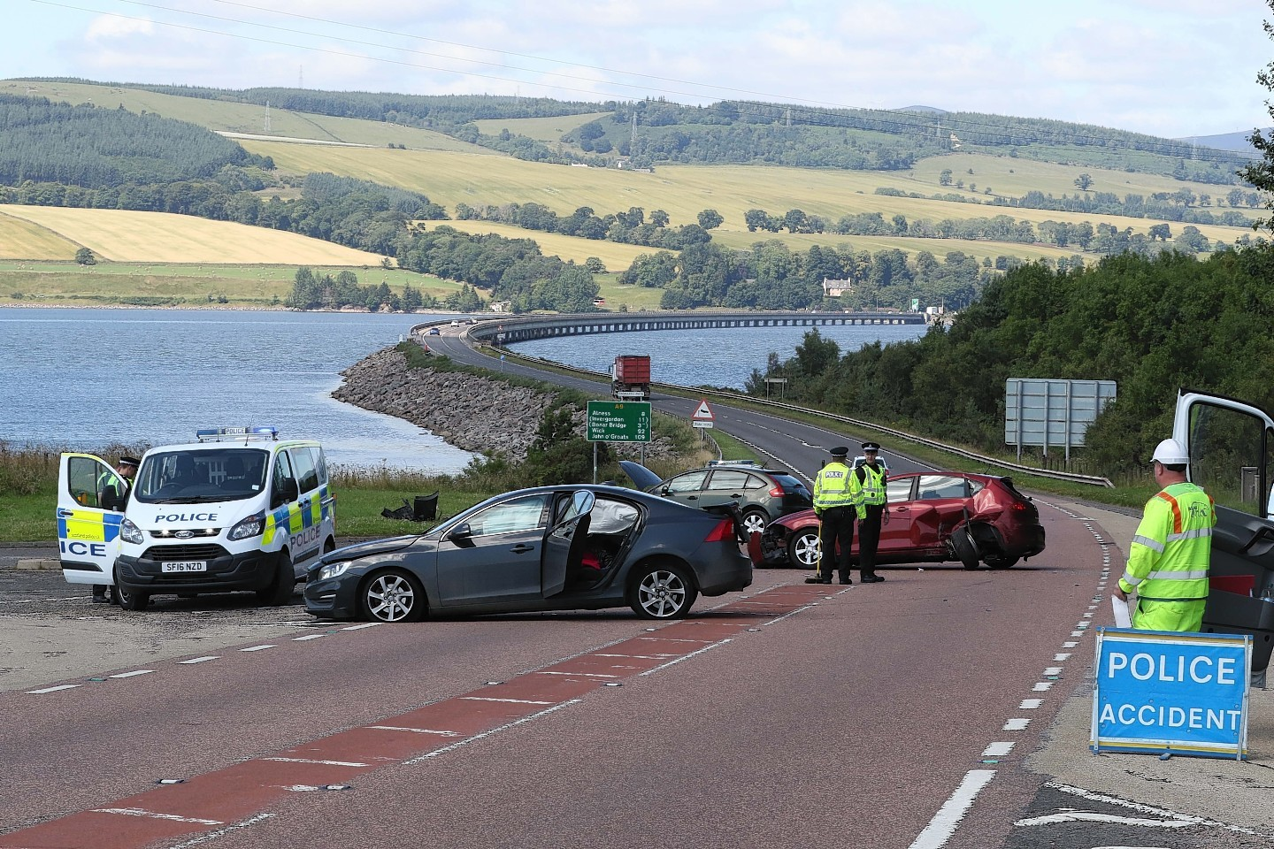 Scene of the three-car crash on the A9 at the south end of the Cromarty Bridge.