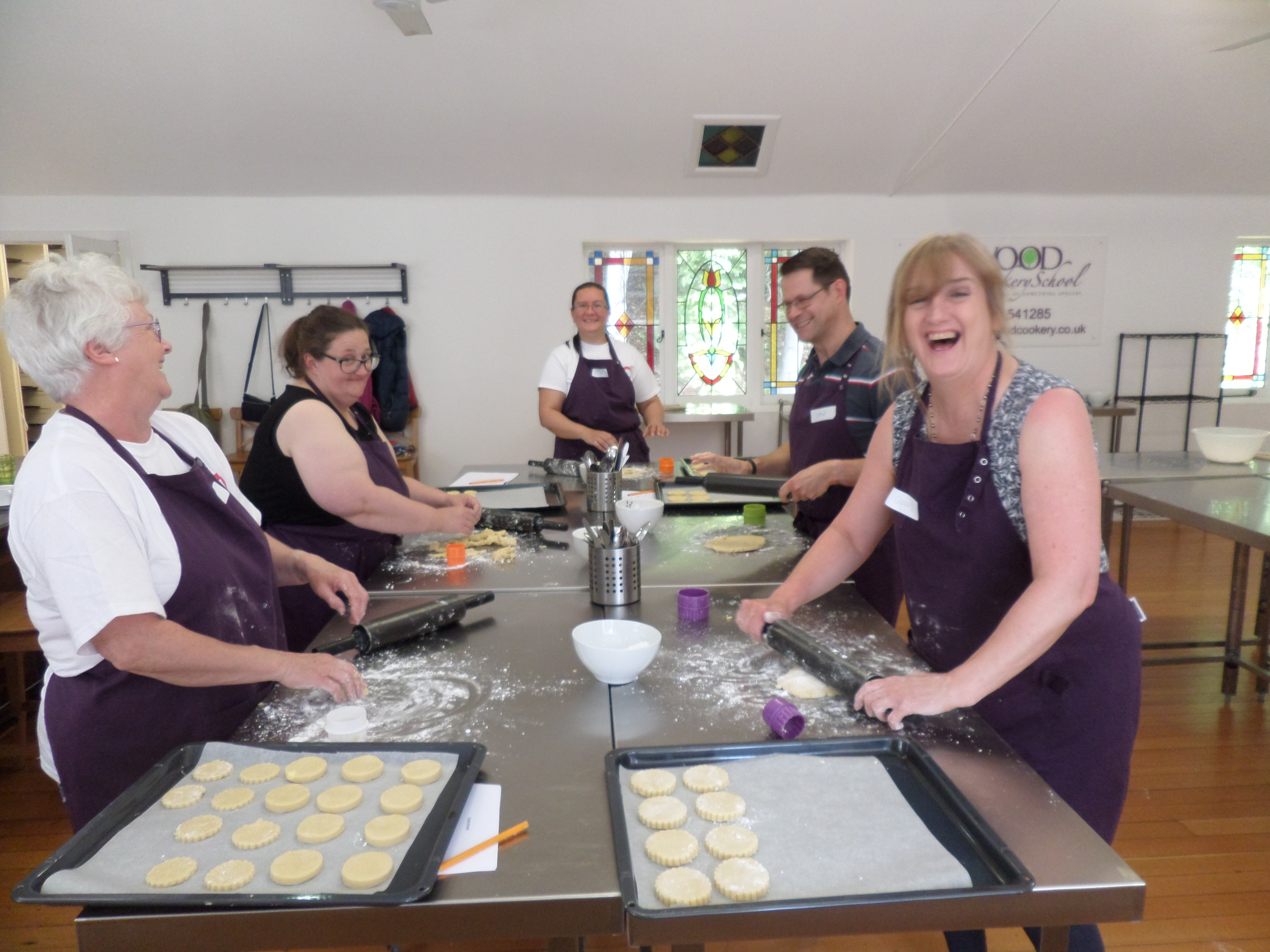 The would-be bakers made scones and biscuits during the class.