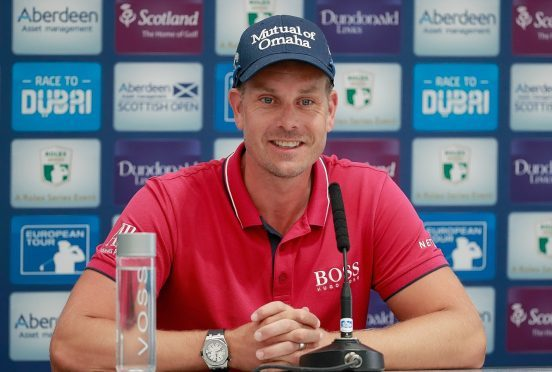 Henrik Stenson in relaxed mood at Dundonald Links.