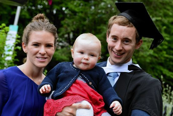 Matthew Laurtenson of Shetland with wife Rebekah and Hannah.     Picture by Kami Thomson