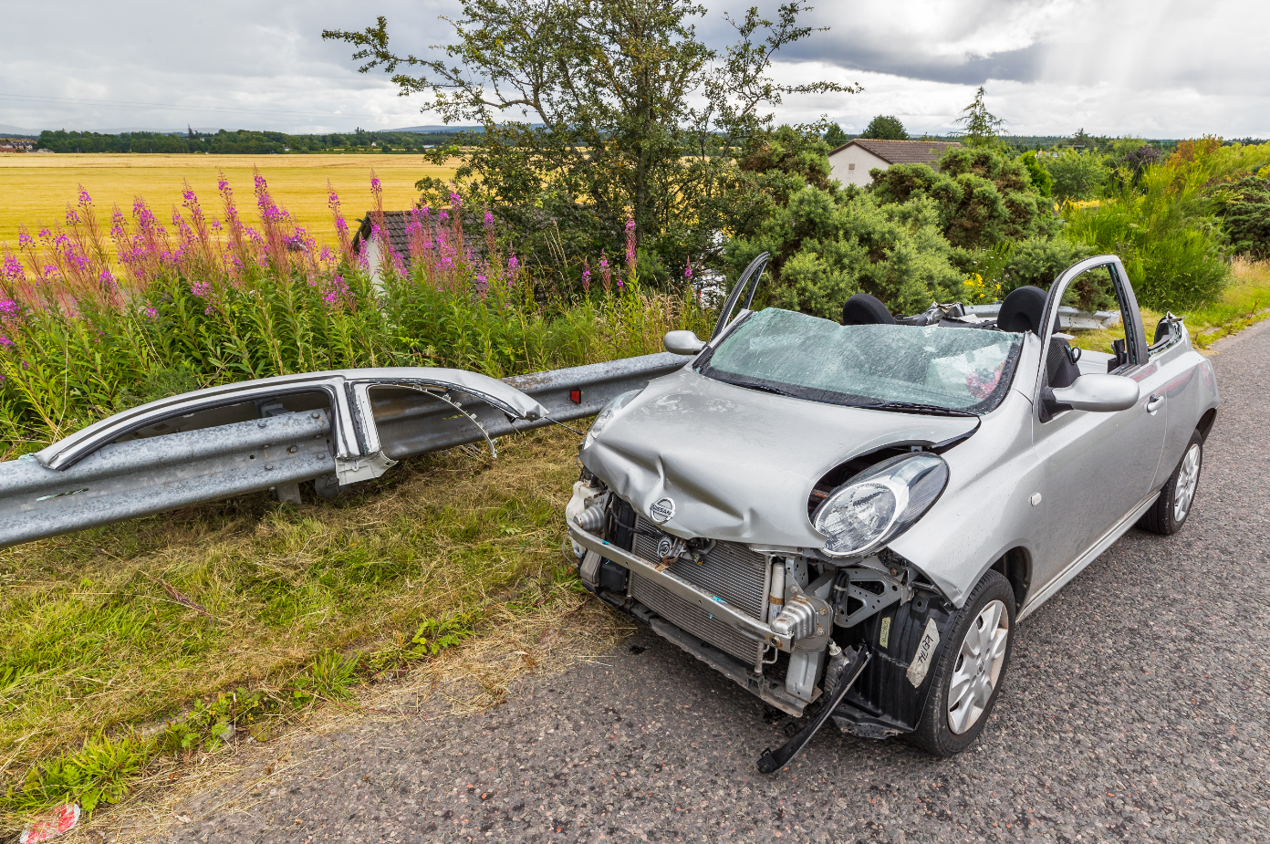 The silver Micra's roof was cut off to free the driver