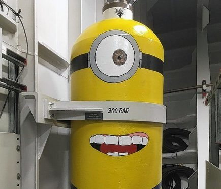Image of a minion on the aircraft carrier HMS Queen Elizabeth