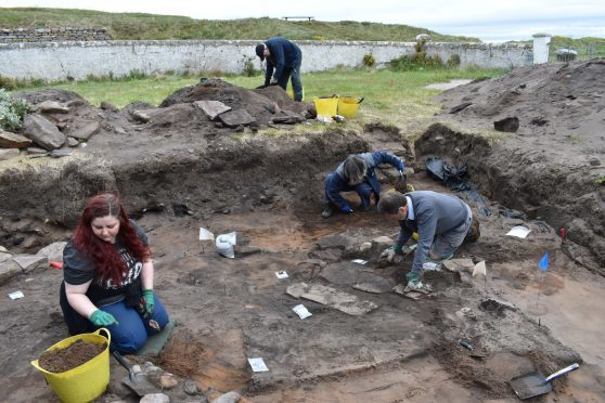 The team carrying out the dig at the Burghead site