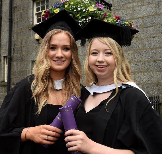 Lifelong friends Rosie Hislop and Katie Robbie, RGU graduates.