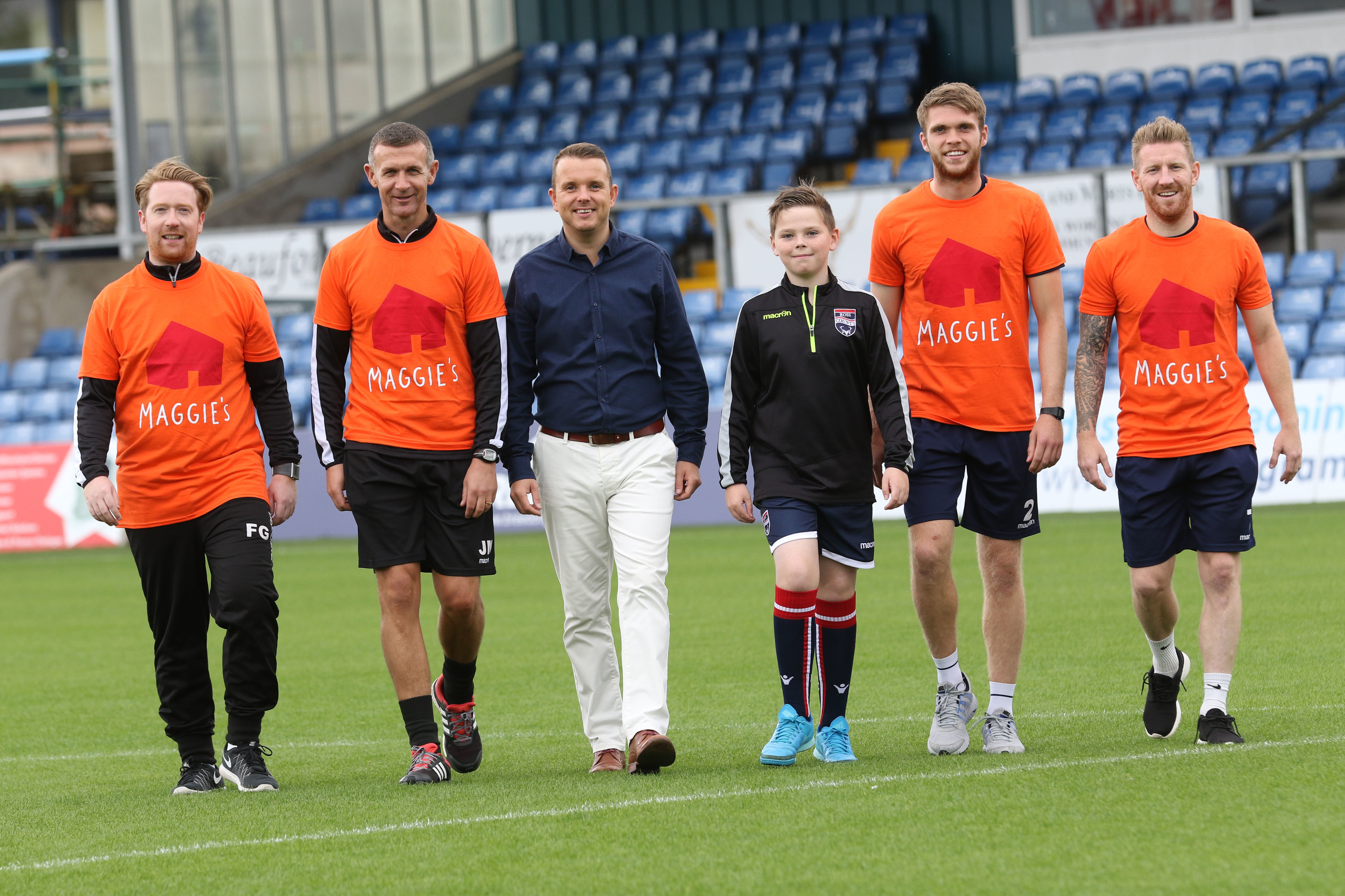 Left-to-right: Ross County video analyst Fraser Gorman, manager Jim McIntyre, Maggie's fundraising manager Andrew Benjamin, Alasdair Urquhart, Ross County defender Marcus Fraser and winger Michael Gardyne.