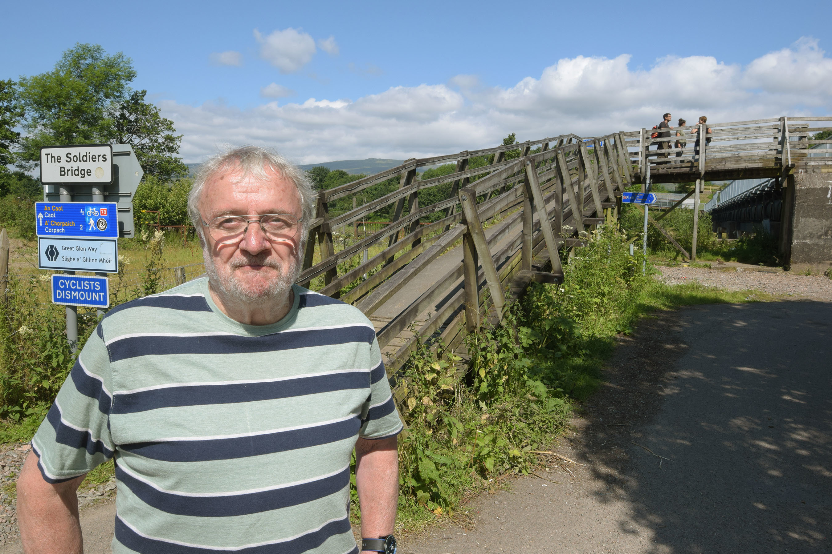 Donald Watt beside the untouched ramp at the Inverlochy side of the Soldiers' Bridge