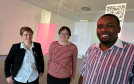 Grampian Hospitals Art Trust,GHAT, have a project with an Zimbabwe art gallery and hospital. In the picture at the Suttie Arts Trust at ARI,  Aberdeen are from left: Sally Thomson, Tamsin Greenlaw and Cliford Zulu.