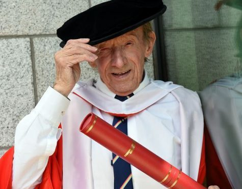 Denis Law receives his honorary degree in Law from Robert Gordon University, July 13 2017.