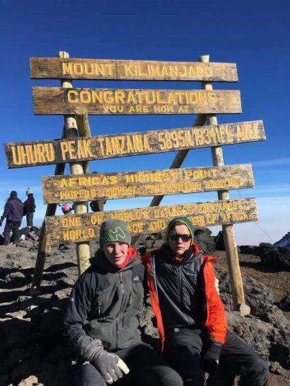 Brothers Harvey Reid (17) and Archie Reid (14)  at Mount Kilimanjaro