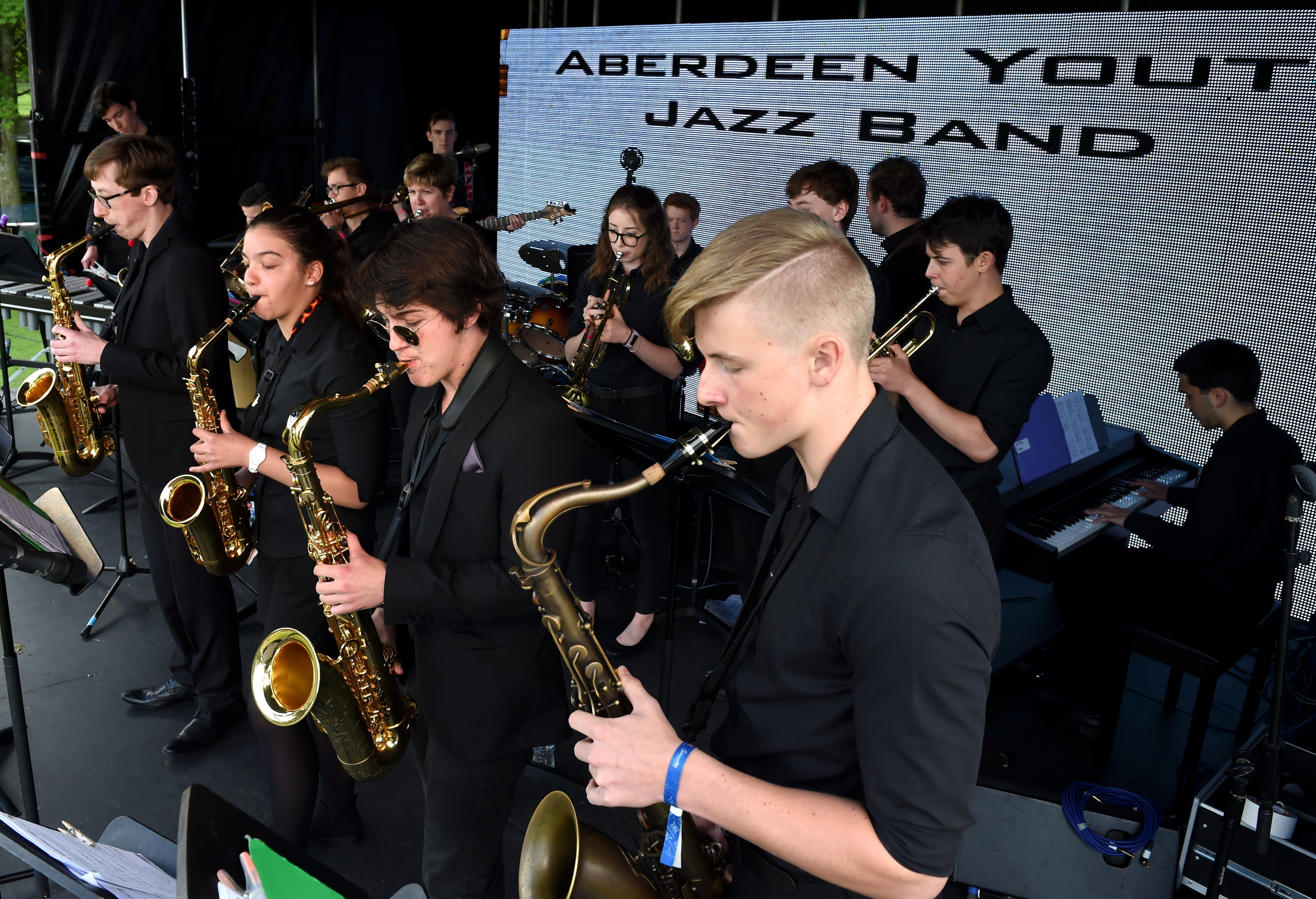 Aberdeen International Youth Festival (AIYF) Aberdeen Mela, One World Day 2017, at Westburn Park. Picture of Aberdeen Youth Jazz Band performing.  Picture by KENNY ELRICK     30/07/2017