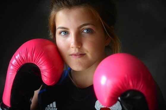 17-year-old Rothes girl, Megan Gordon, a member of Elgin Amateur Boxing Club, who has been picked to represent Scotland at the Commonwealth Youth Games in the Bahamas in July.   Photo by Michael Traill 9 South Road Rhynie Huntly AB54 4GA  Contact numbers Mob07739 38 4792 Home01464 861425