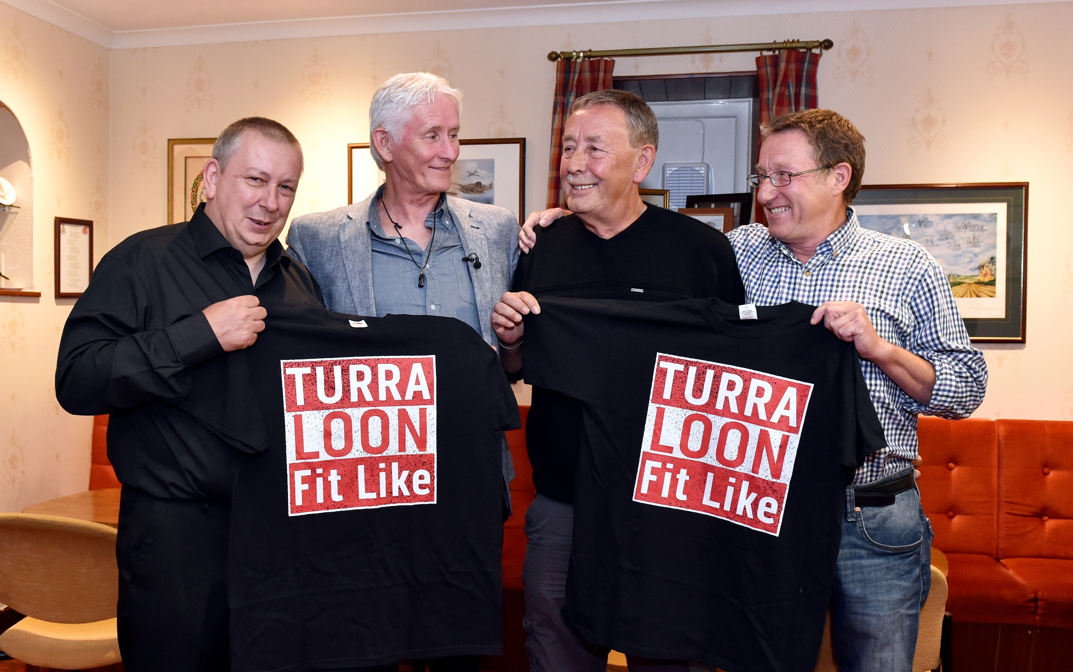 Rob Weston (second left) meets sibling (from left) Tommy Chalmers, Larry Aston and Bryn Jones. Picture by Colin Rennie