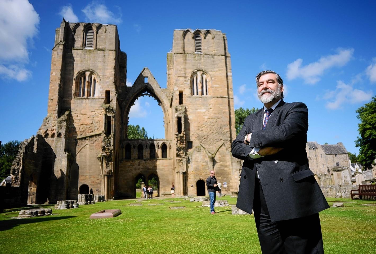 Visit Scotland Chairman, Lord John Thurso at Elgin Cathedral in Moray.