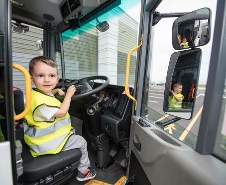 Aberdeen, Scotland, Thursday 2nd August 2017  Kai is a keen Bin Lorry fan and he was given an opportunity to explore on up close when he visited Altens East Resource and Recovery Facility with his family.  Pictured is Kai inside Bin Lorry truck.  Picture by Michal Wachucik / Abermedia