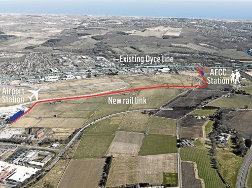 Graphic showing proposed rail link