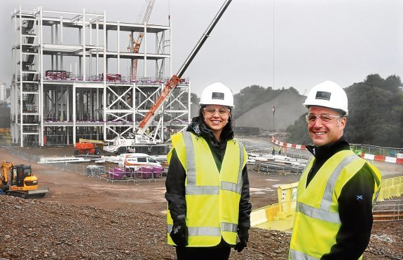 Kate Forbes MSP with Chris Read, Environmental Manager at Marine Harvest