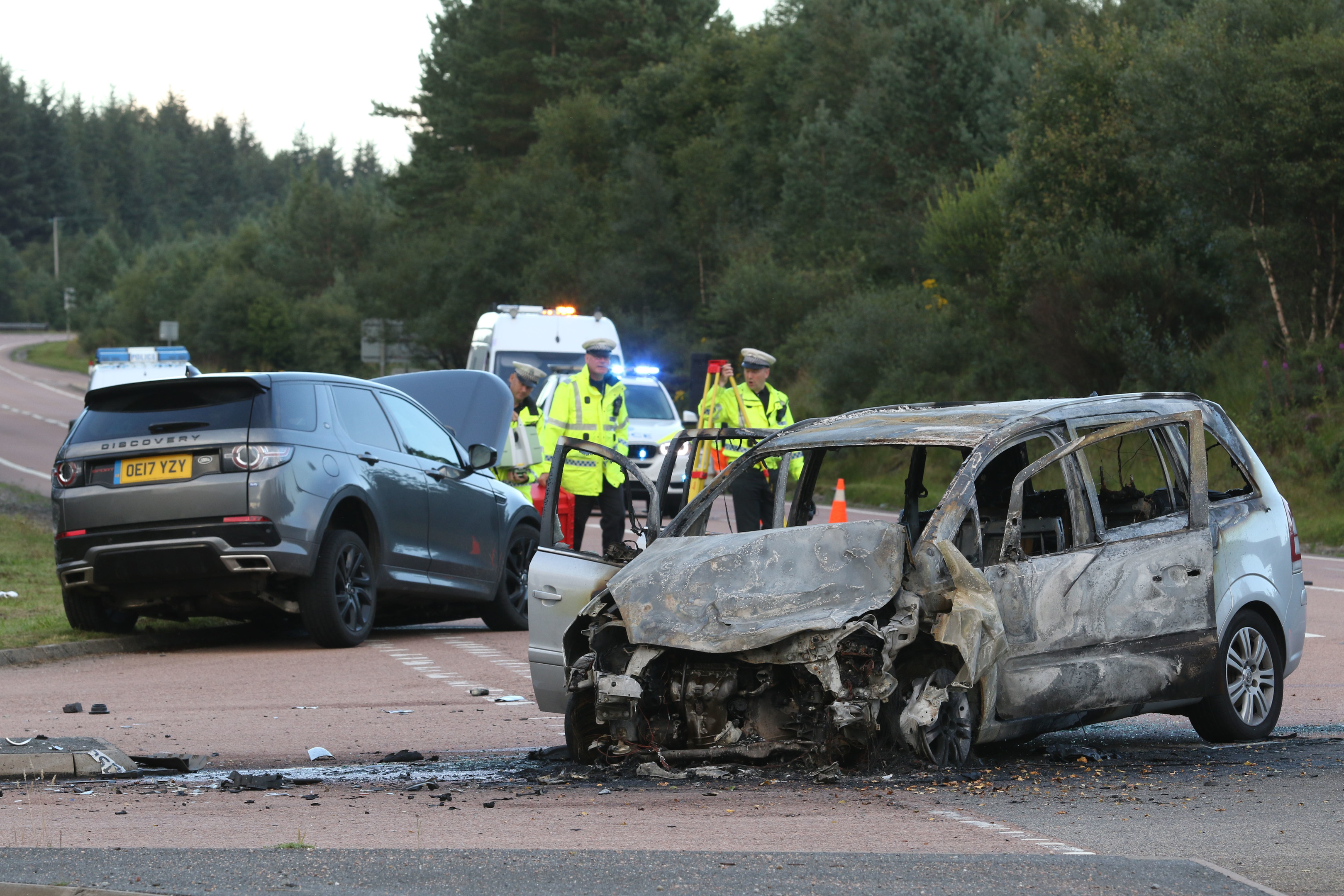 """26 August 2017: Scene of an RTC on the A9 at Ralia near Newtonmore. Three young children were in one of the vehicles. One was taken to hospital by air ambulance with serious injuries. A senior police officer at the scene described the crash as """"spectacular"""" but said the latest information was that all of the casualties were going to be """"okay"""". Picture: Andrew Smith"""
