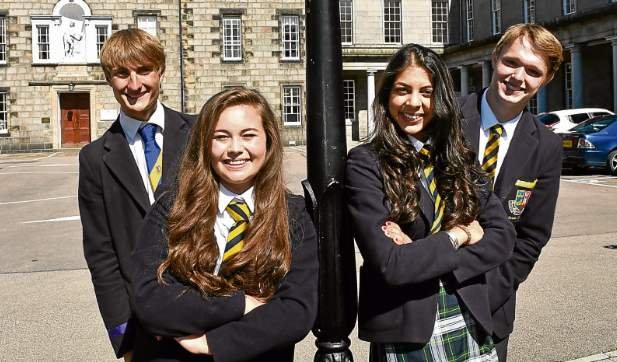 rom left, Rory Rose, Molly Whitehouse, Rhia Badial and Ross Martin at Robert Gordon's College in Aberdeen