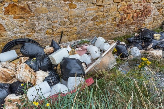 Some of the bags dumped at Burghead Harbour in Moray.