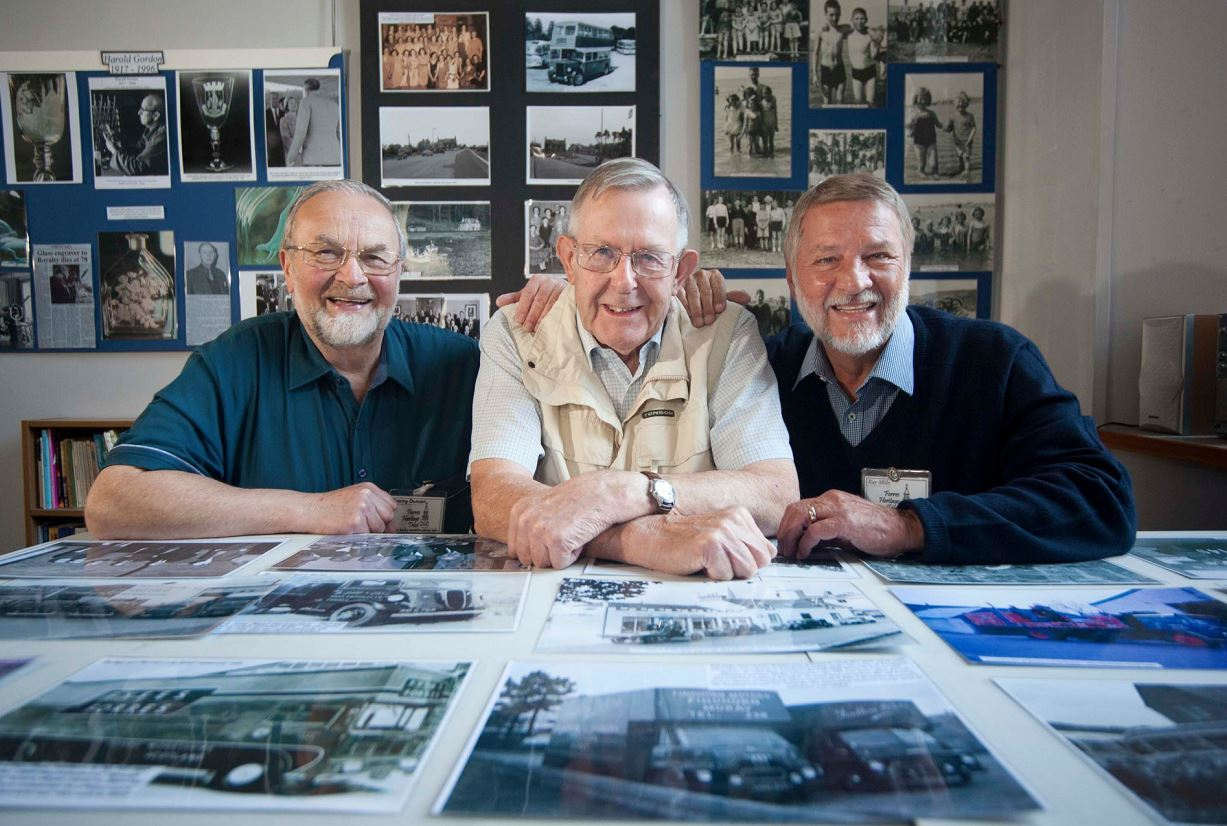 Forres Heritage Trust volunteers Franny Duncan, Ross Dalziel and Ray Mills with just some of the photos that are on display.