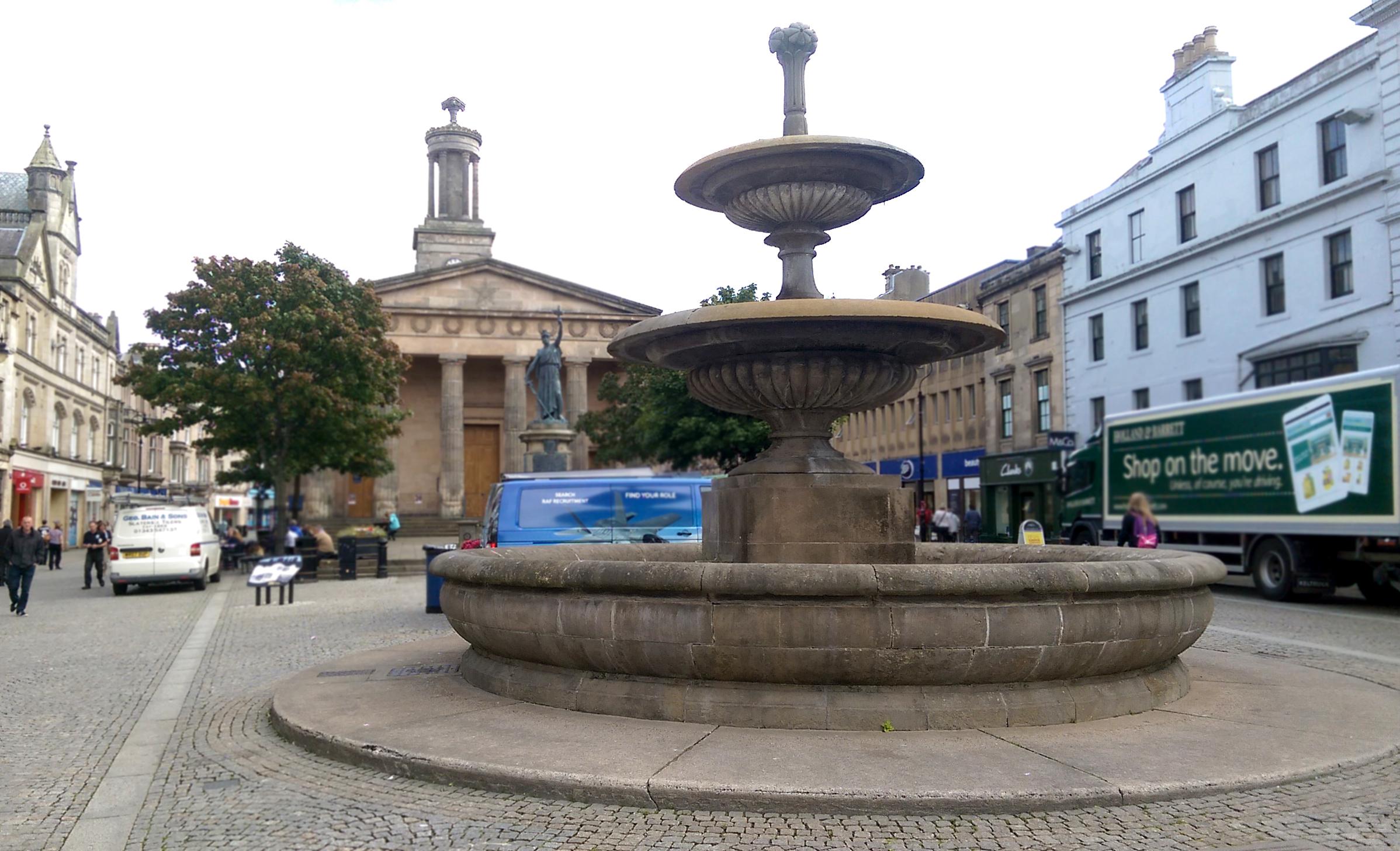 The fountain on Elgin High Street