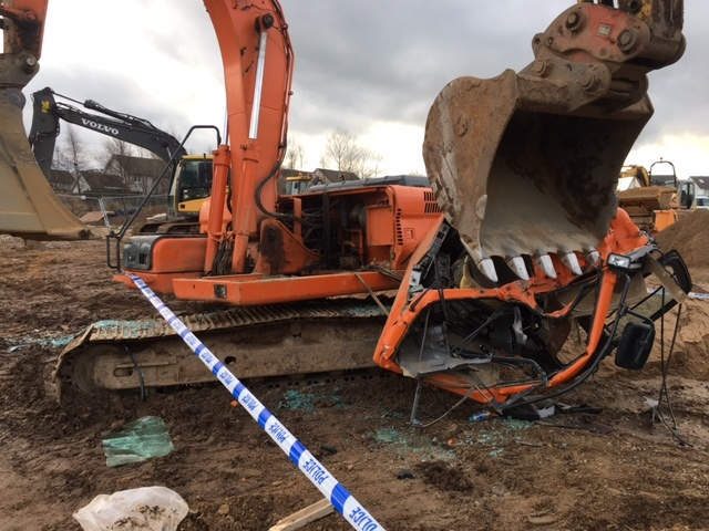 The cab was ripped from the base of a digger as the duo embarked on their trail of destruction.