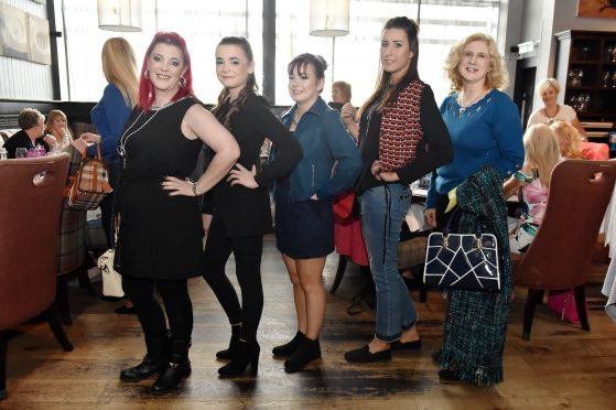The models line-up at the fashion show in Aberdeen