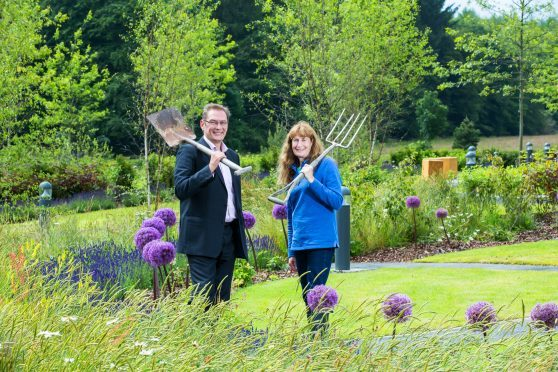 John Low, MD of Stewart Milne Homes North, and Carole Baxter from Beechgrove Garden launch Greener Spaces Better Places. PictureSimon Price/Firstpix Photography