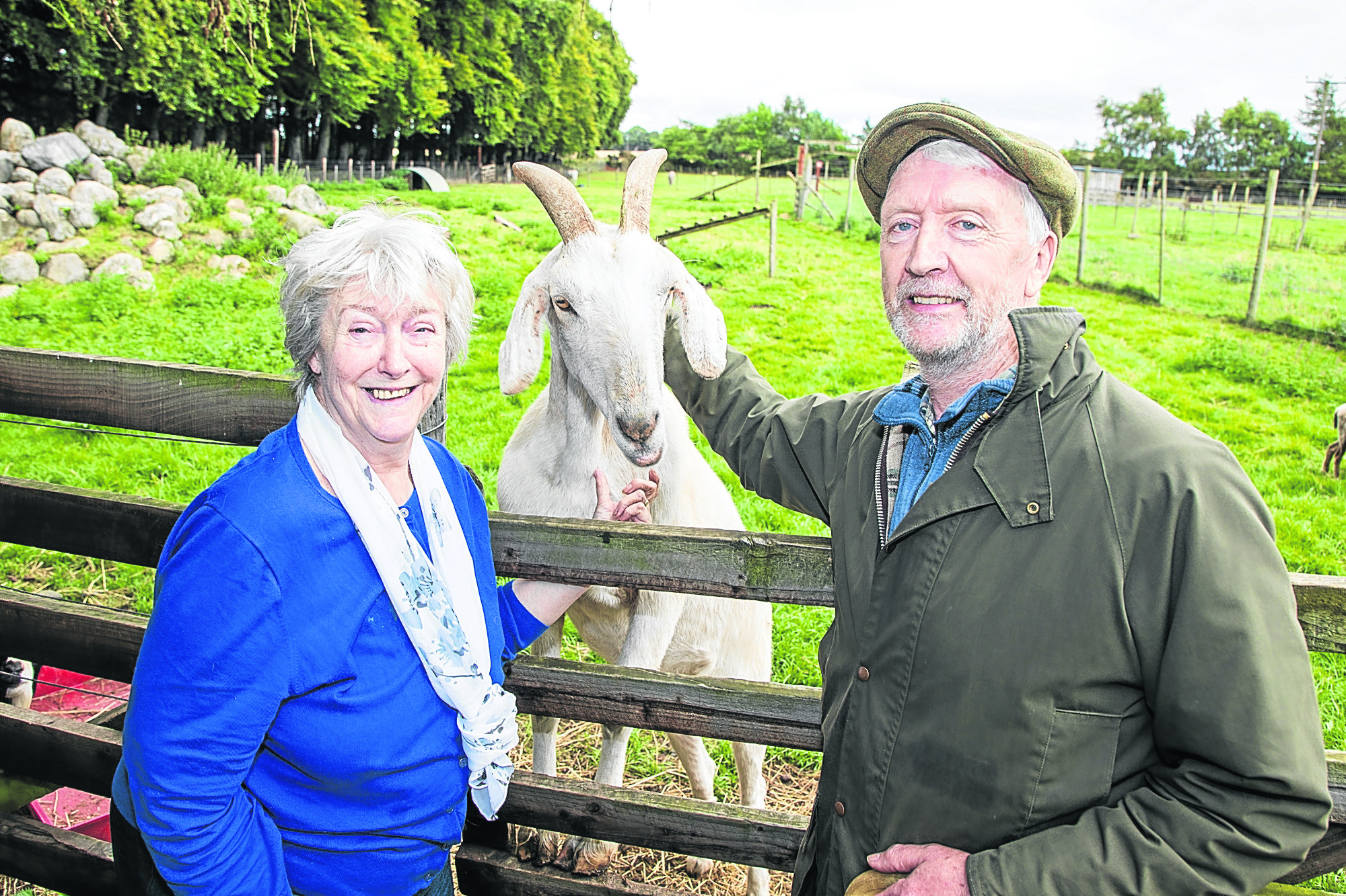 Maureen and Eric Maxwell pictured with Shamrock the goat