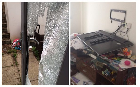 The thieves stole computers, tablets, and other electronics - but left the television after ripping it from the wall