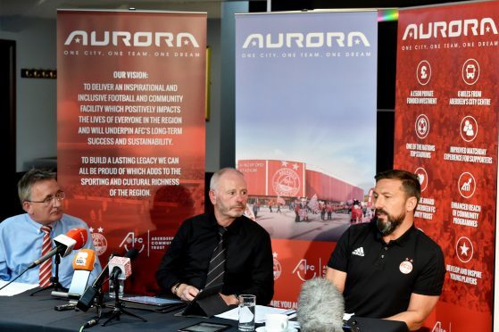 Vice-chairman George Yule, Chairman Stewart Milne and Dons manager Derek McInnes.   Picture by Colin Rennie