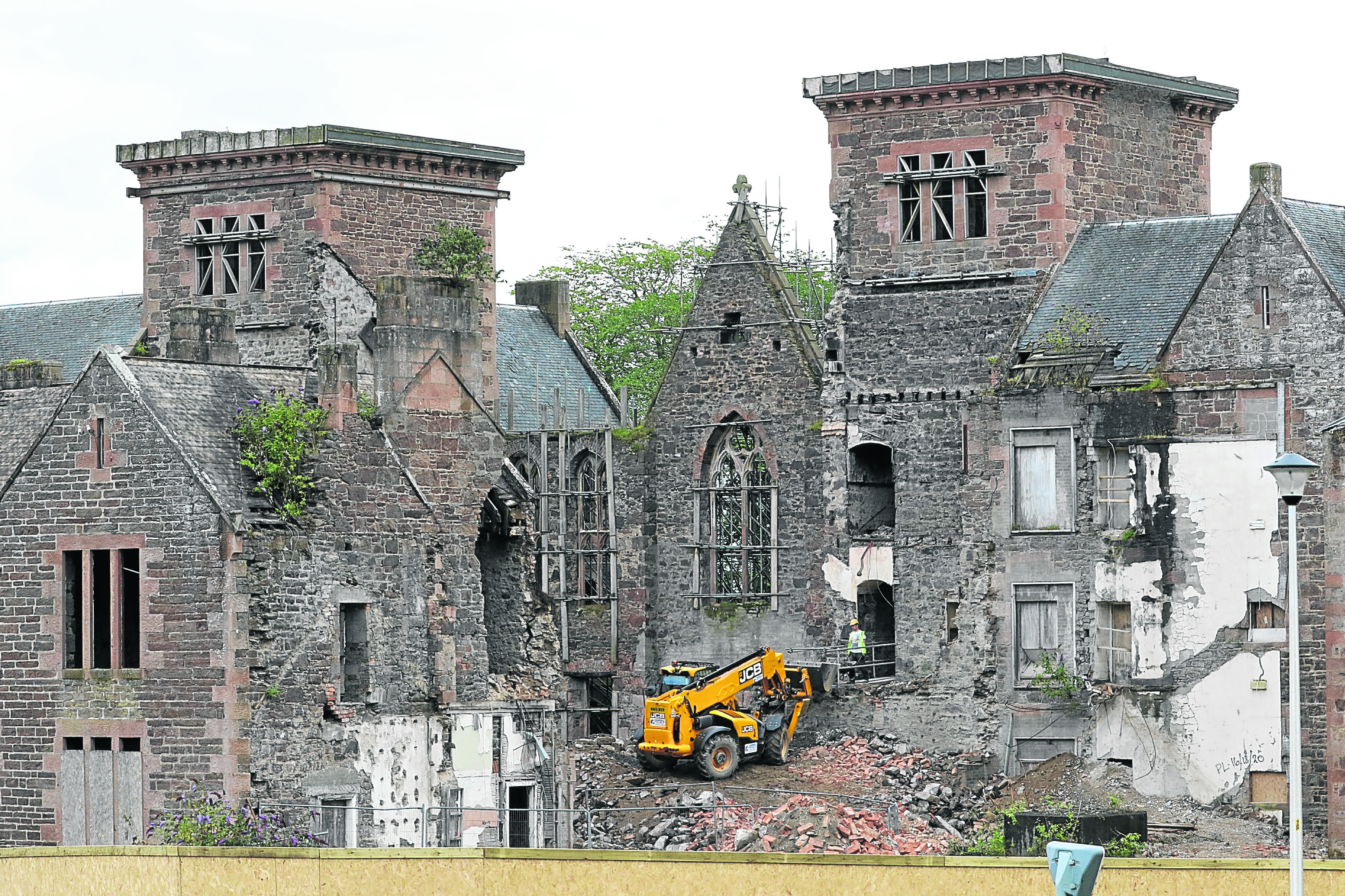 Demolition work at the old Craig Dunain Hospital in Inverness in 2017.