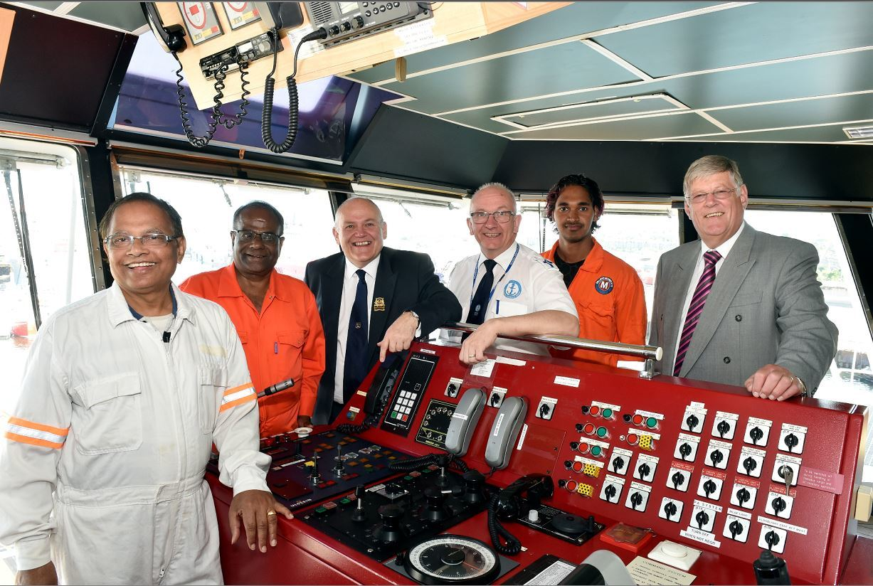 he Malavia Seven at Aberdeen Harbour - Lord Provost Barney Crockett visited the ship and spoke to the captain and crew. (from left) Captain Lal Bihari Singh, Bamadev Swain, Lord Provost Barney Crockett, Pastor Howard Drysdale, Rahul Sharma and Ian Robbie, Treasurer for the Aberdeen Seafarers Centre. Picture by COLIN RENNIE