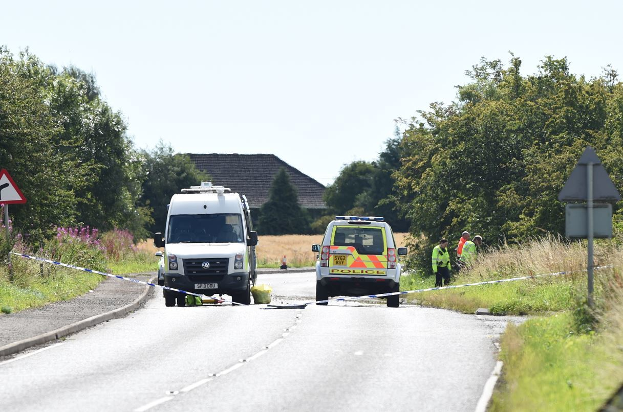 The scene of the crash in Marykirk. (Picture: Kenny Elrick)