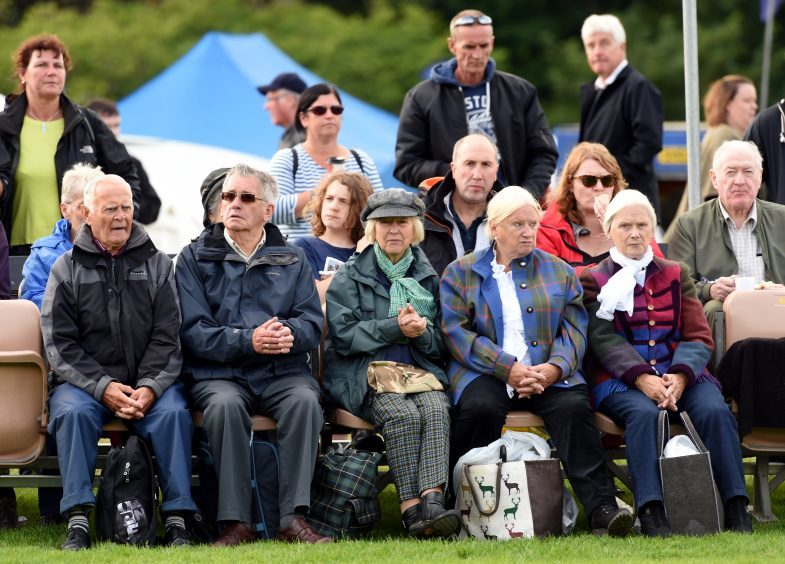 The Lonach games at Belabeg, Strathdon. In the picture are the crowd watching the games.