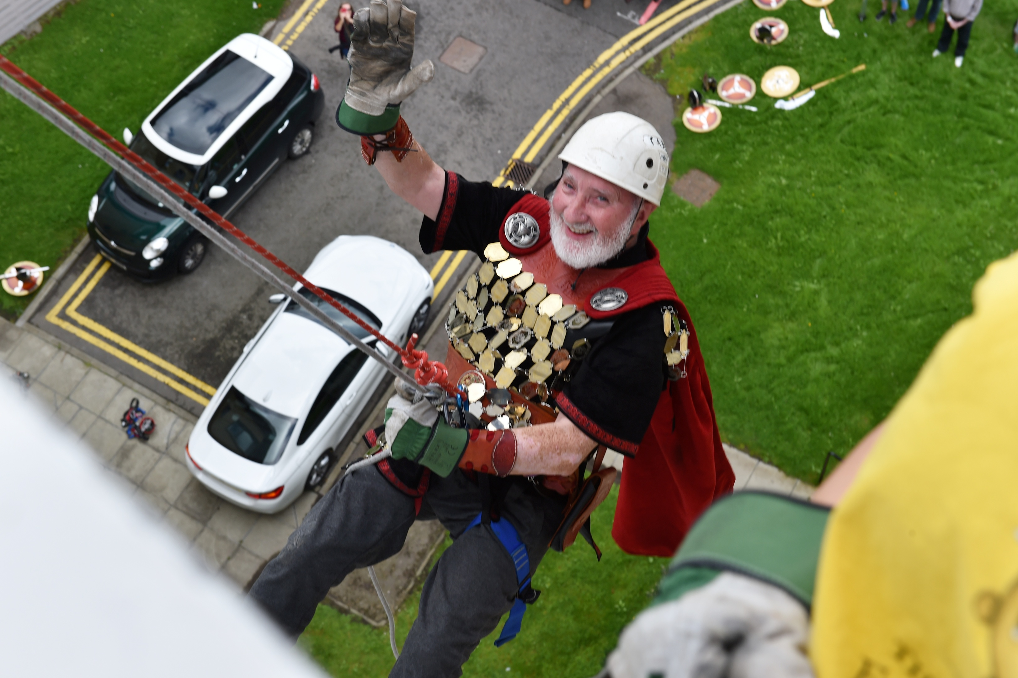 The annual Archie abseil was held at Aberdeen Children's Hospital.  76 year old Ralph Skene, a Shetland Viking absailed. Picture by COLIN RENNIE  August 12, 2017