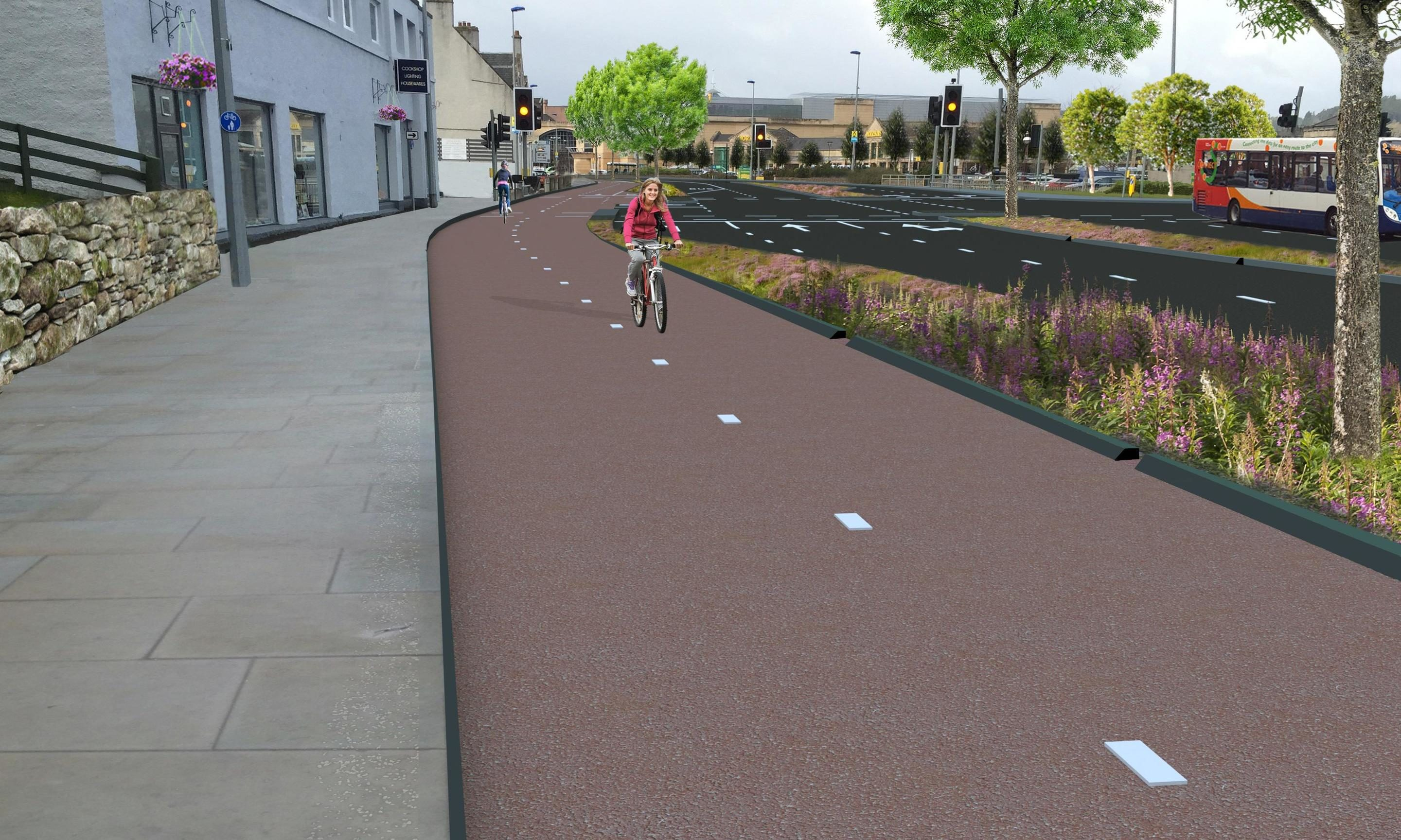 An artist's impression of what the Active Travel scheme along Millburn Road could look like.