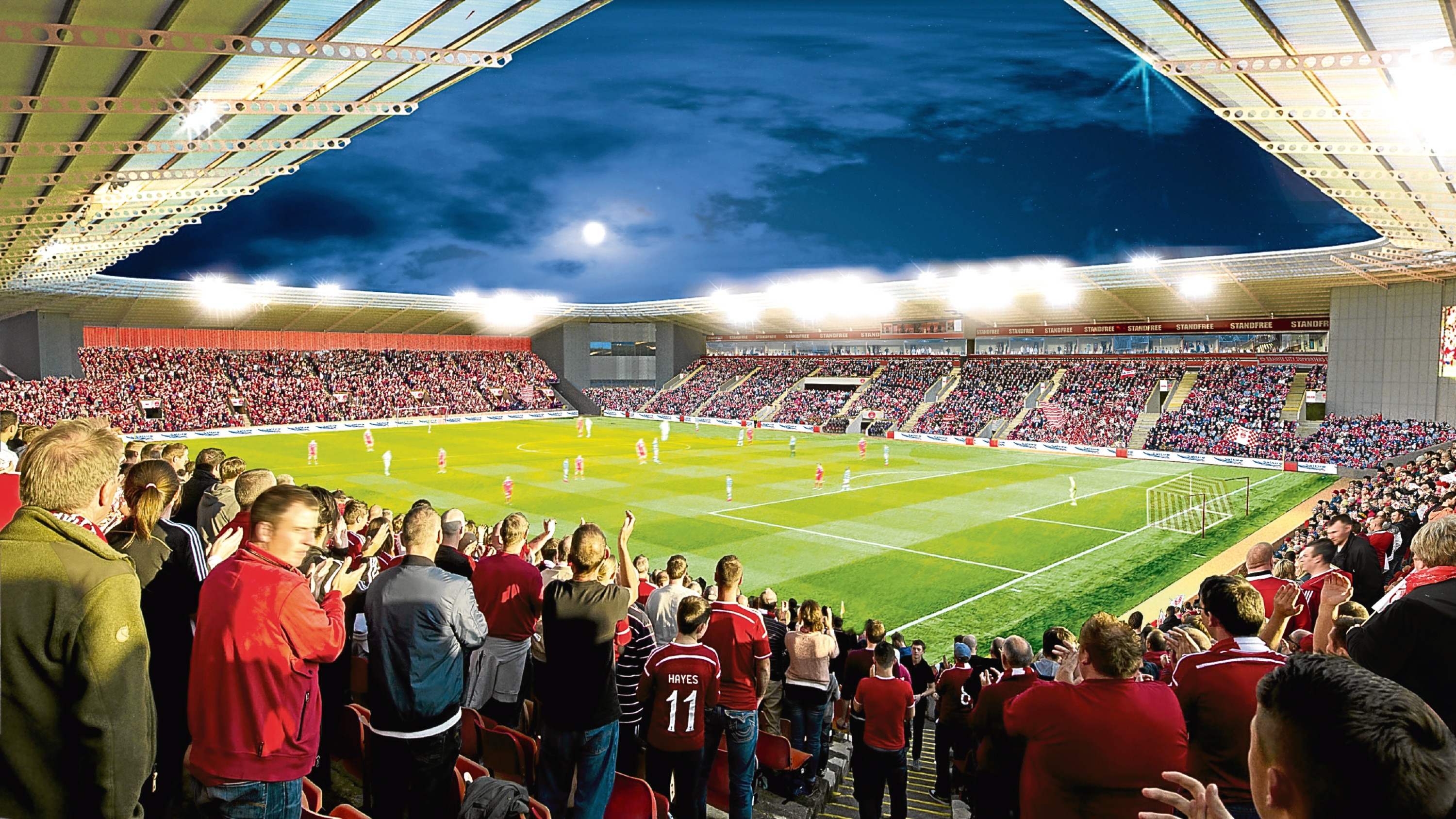 Interior of how Aberdeen FC's new stadium could look at Kingsford.
