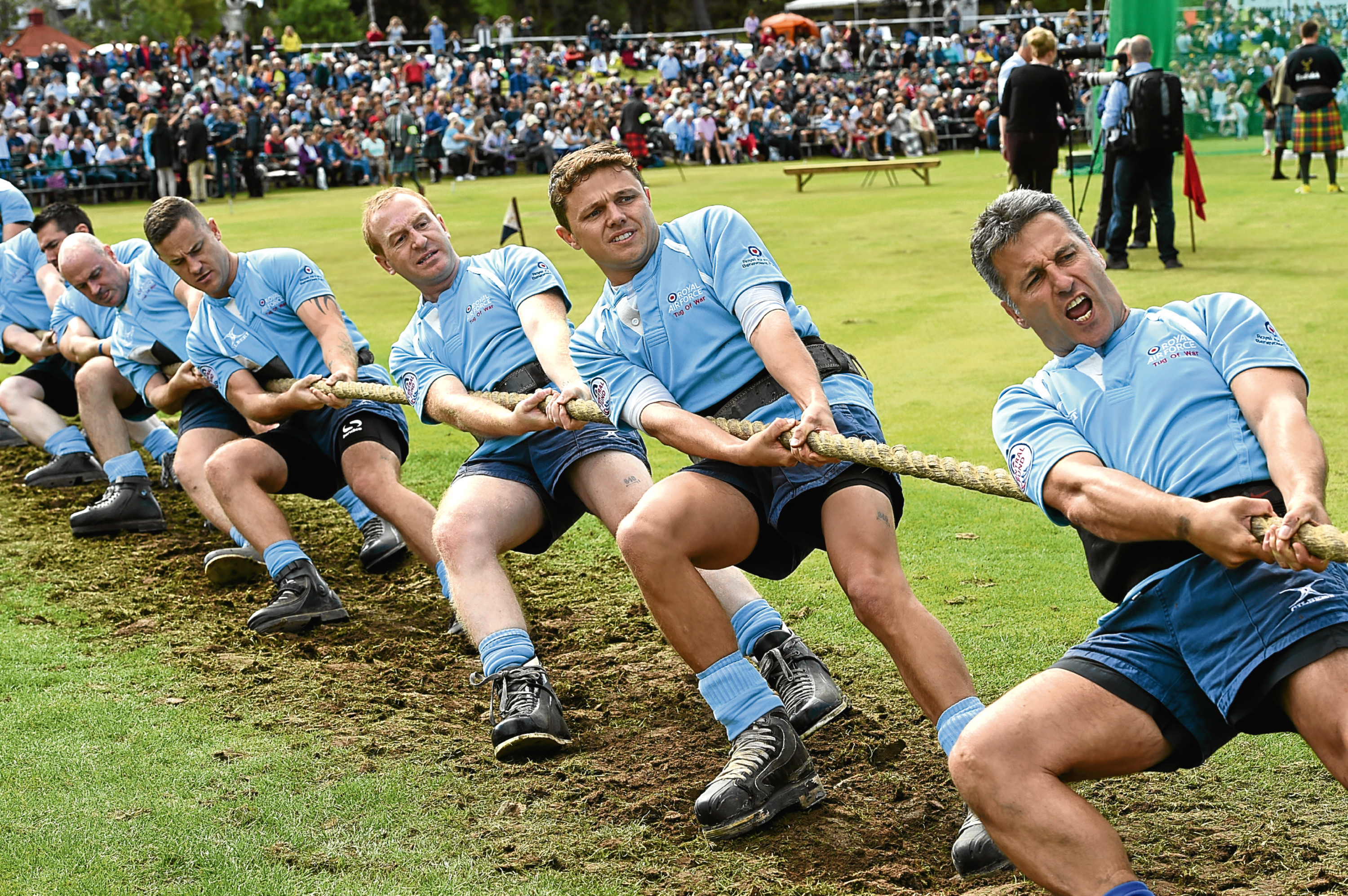 Braemar Games: In the picture are the Royal air Force, tug o war team in action. Pictures by Jim Irvine.