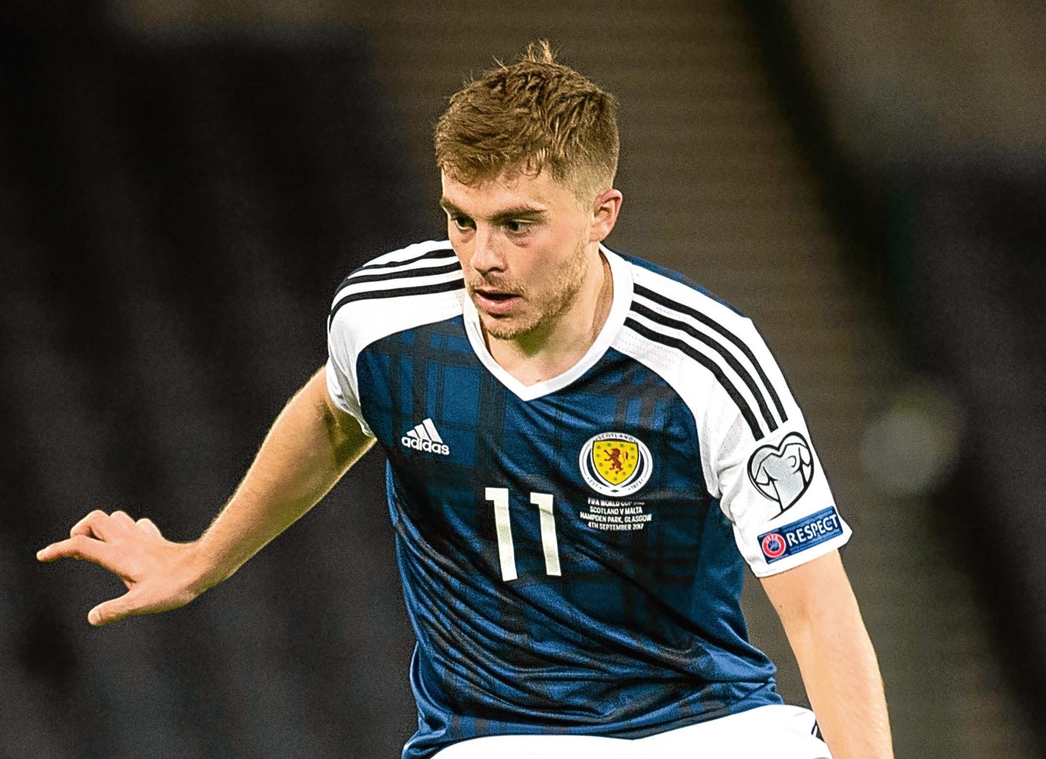 James Forrest in action for Scotland.
