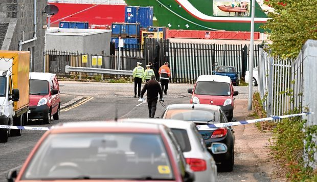 Police activity in Torry - parts of Sinclair Road/Mansfield road was closed. Picture by COLIN RENNIE   September 11, 2017.