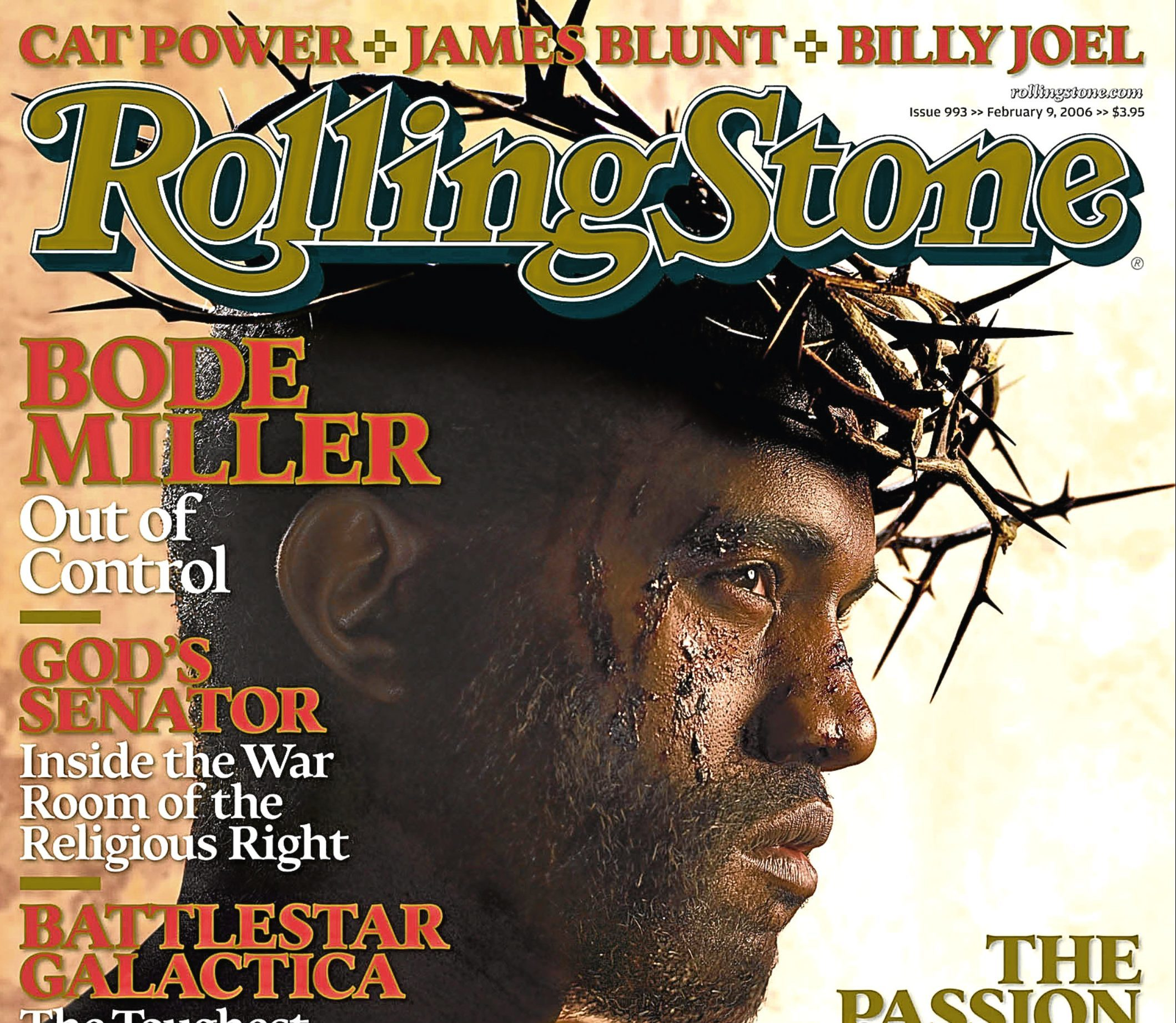 The photo from Rolling Stone magazine shows outspoken rapper Kanye West, with a crown of thorns atop his head, as Jesus Christ on the cover of the upcoming issue of Rolling Stone.(AP Photo/Rolling Stone)