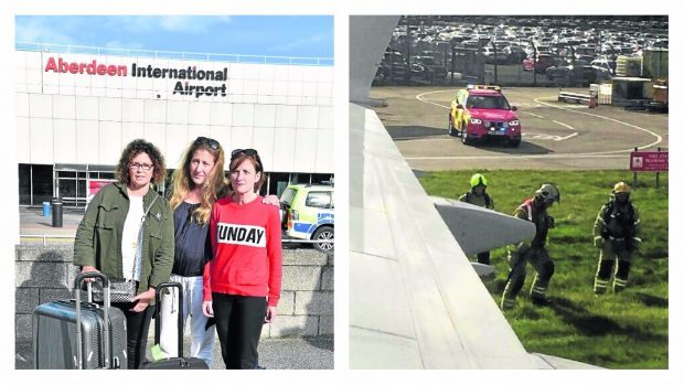 Passengers, L-R Lorna Rosie, Heather Forgie and Judith Birkhead and a picture of the fire crews arriving in Edinburgh.