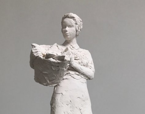 "Photo of one of the two 16"" high maquettes, in jesmonite, that David Williams-Ellis made as part of his final proposal."