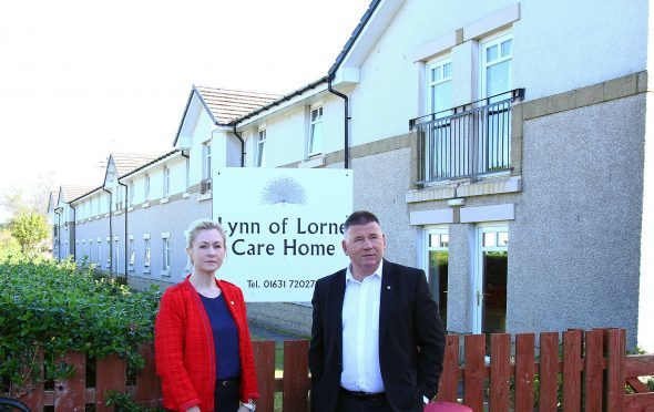 Concerned councillors Roddy McCuish and Julie MacKenzie outside the Lynn of Lorne care home