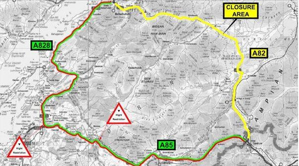 A map showing the diversions in place on A82