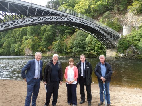The Craigellachie bridge is more than 200 years old. Pictured: Moray MSP Richard Lochhead, Chairman of Friends of Craigellachie Bridge Campbell Croy, secretary Brenda Cooper, chief executive of Historic Environment Scotland, Alex Paterson, Friends of Craigellachie Bridge committee member Jock Anderson.