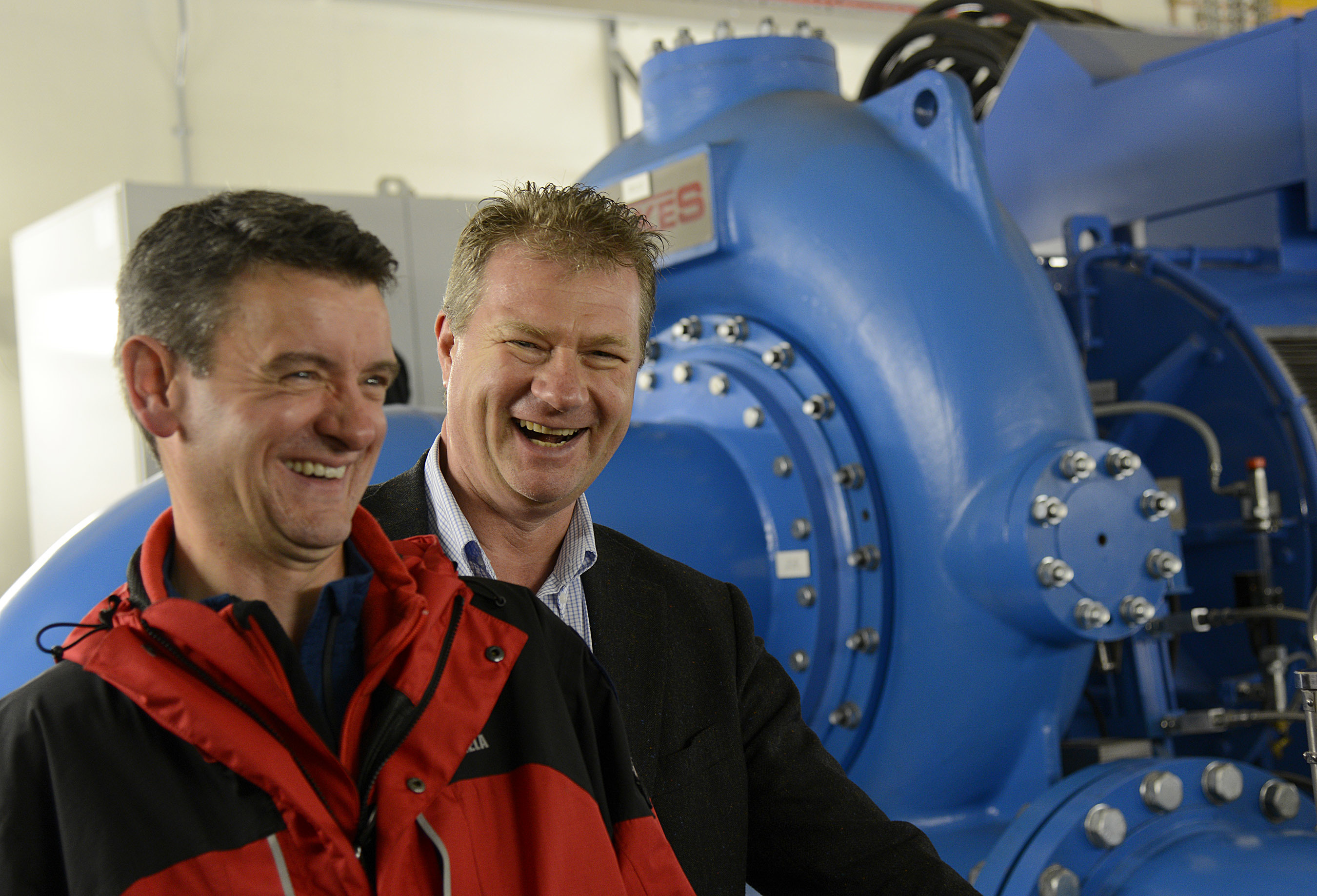 Torridon Mountain Rescue Team member Richard Cockburn (left) with Hans Bunting, Chief Operating Officer, Renewables innogy SE in the Grudie Hydro Electric scheme power station.